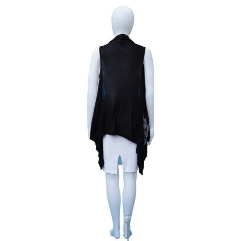 ANN DEMEULEMEESTER SCREEN PRINT OPEN FRONT SLEEVELESS VEST - leefluxury.com