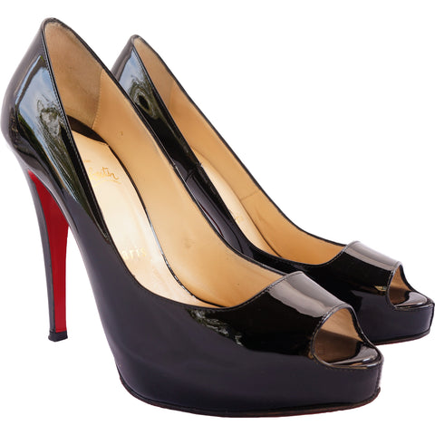 CHRISTIAN LOUBOUTIN 120 MLLE DAM PATENT LEATHER PEEP-TOE PUMPS - leefluxury.com