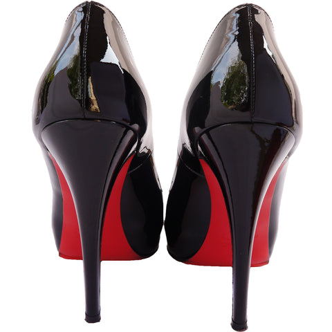 CHRISTIAN LOUBOUTIN 120 MLLE DAM PATENT LEATHER PEEP-TOE PUMPS  on Leef luxury authentic designer resale consignment