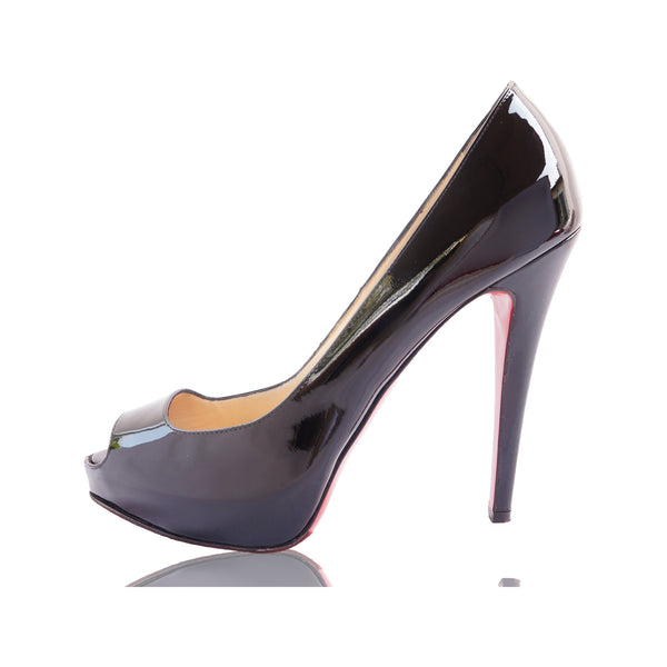 CHRISTIAN LOUBOUTIN 120 MLLE DAM PATENT LEATHER PEEP-TOE PUMPS