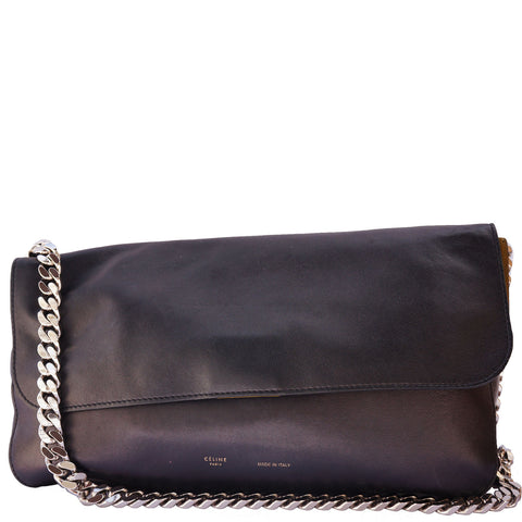 CÉLINE GOURMETTE LEATHER CHAIN LINK SHOULDER BAG - leefluxury.com