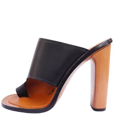 CÉLINE LEATHER SLIDE SANDALS