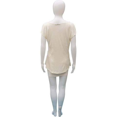 CHRISTIAN DIOR IVORY DRAPE FRONT TOP - leefluxury.com
