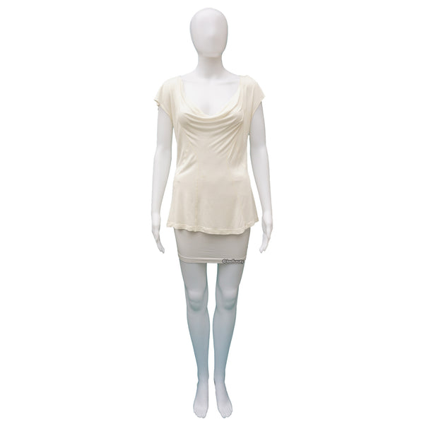 CHRISTIAN DIOR IVORY DRAPE FRONT TOP