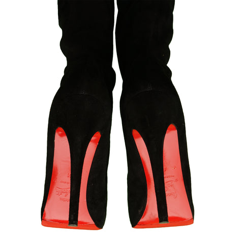 CHRISTIAN LOUBOUTIN MONICA 120 SUEDE THIGH HIGH BOOTS - leefluxury.com