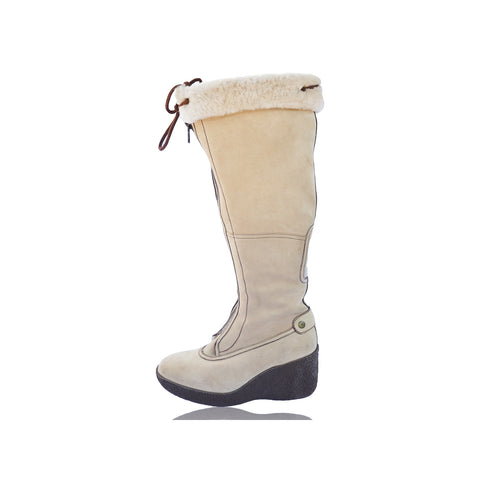 COLE HAAN BEIGE SUEDE KNEE HIGH PLATFORM BOOT - leefluxury.com