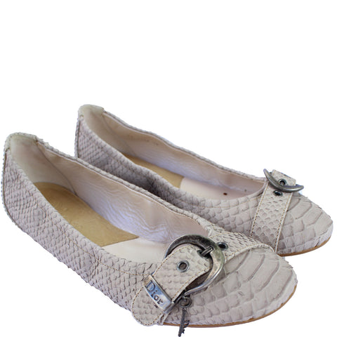 CHRISTIAN DIOR PYTHON BUCKLE FLATS on Leef luxury authentic designer resale consignment