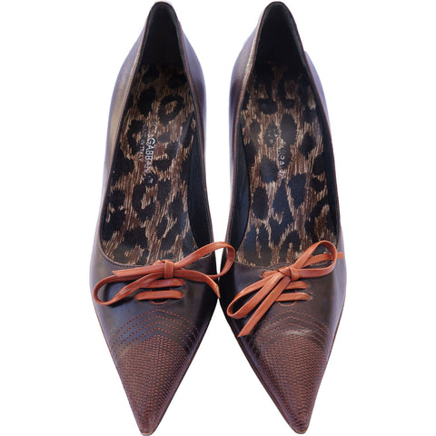 DOLCE & GABBANA LEATHER LACE-UP PUMPS - leefluxury.com