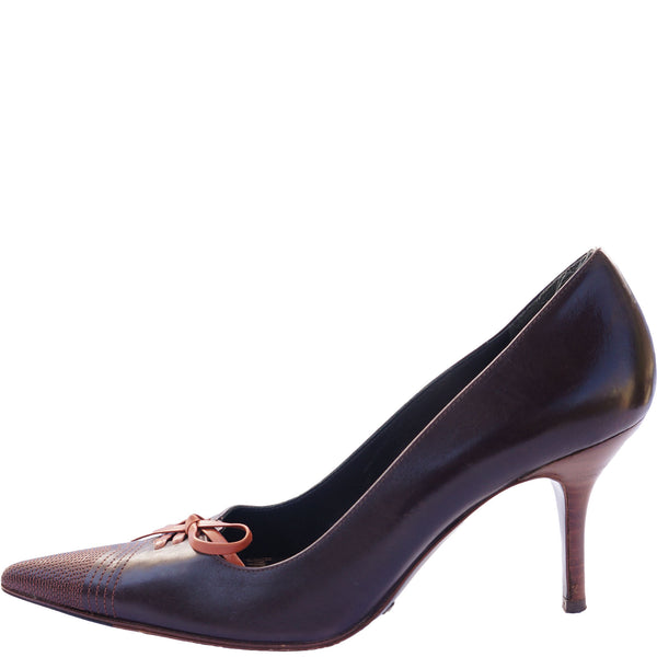 DOLCE & GABBANA LEATHER LACE-UP PUMPS