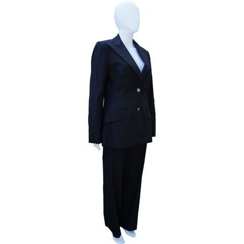 DOLCE & GABBANA BLACK WOOL WIDE-LEG PANT SUIT on Leef luxury authentic designer resale consignment