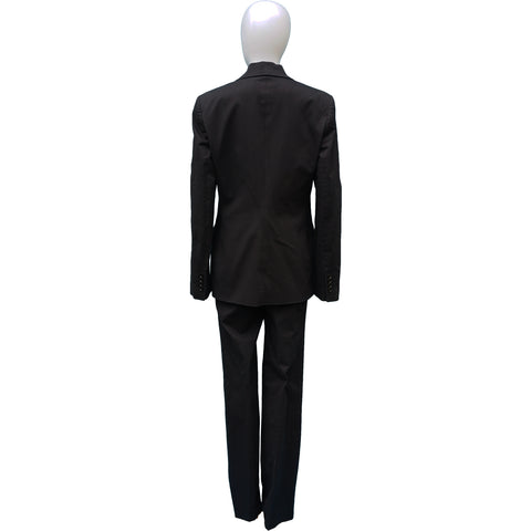 DOLCE & GABBANA BLACK COTTON STRETCH PANT SUIT - leefluxury.com