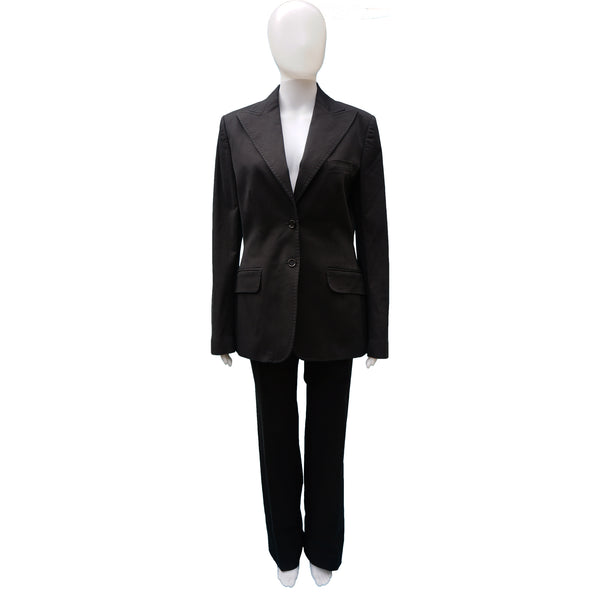 DOLCE & GABBANA BLACK COTTON STRETCH PANT SUIT