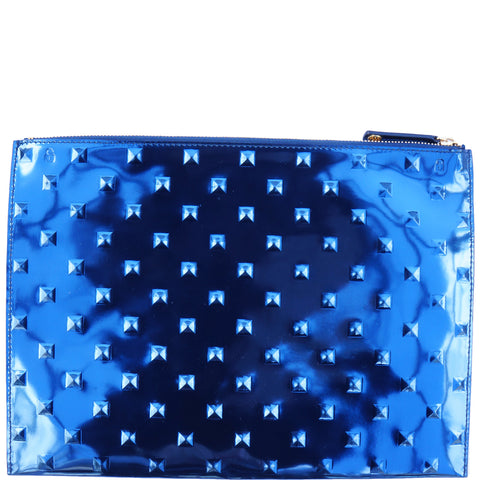 ELA STUDDED EDITOR'S POUCH MIRROR BLUE CLUTCH NEW WITH TAGS - leefluxury.com