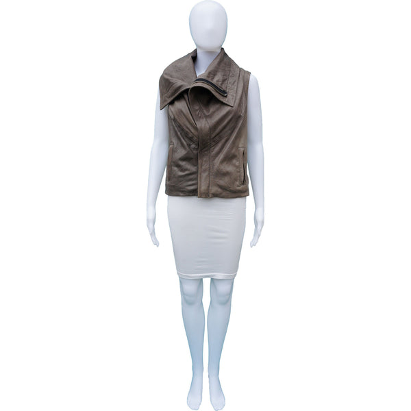 GRAI GREY TAUPE DISTRESSED LEATHER VEST