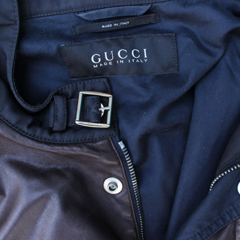 GUCCI MAN'S LEATHER & NYLON BOMBER on Leef luxury authentic designer resale consignment