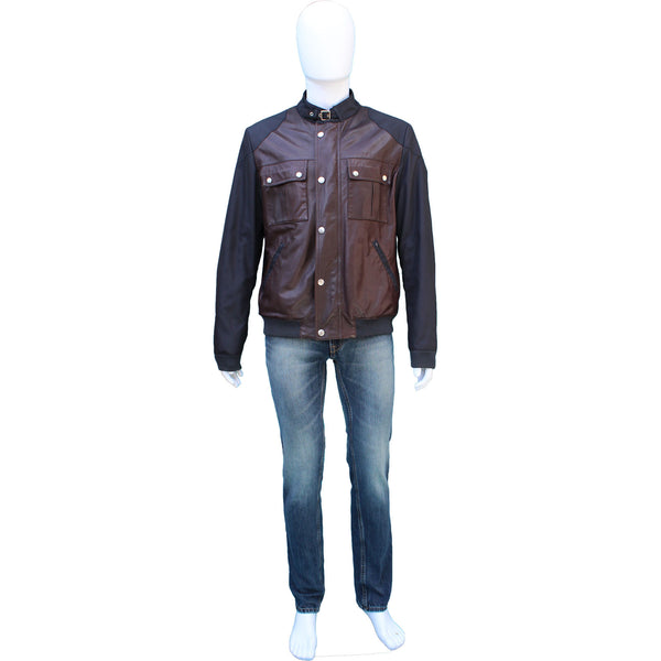 GUCCI MAN'S LEATHER & NYLON BOMBER