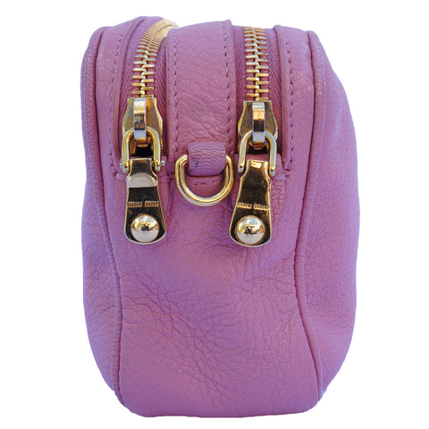 MIU MIU ROSE GRAINED LEATHER CROSSBODY BAG  Shop the best value on authentic designer resale consignment on Leef Luxury.