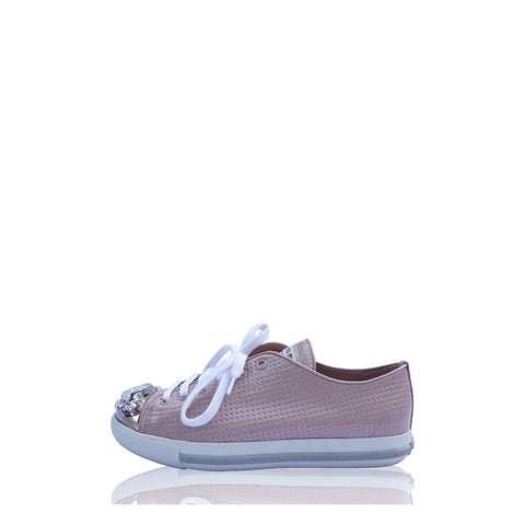 MIU MIU PINK CRYSTAL CAP-TOE SNEAKERS Shop the best value on authentic designer resale consignment on Leef Luxury.