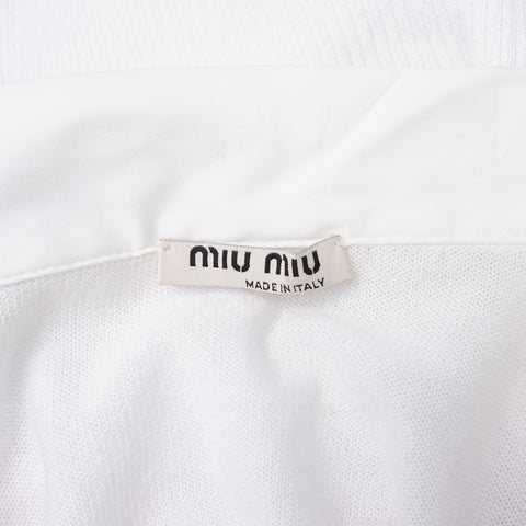 MIU MIU WHITE SHORT SLEEVE KNIT TOP on Leef luxury authentic designer resale consignment