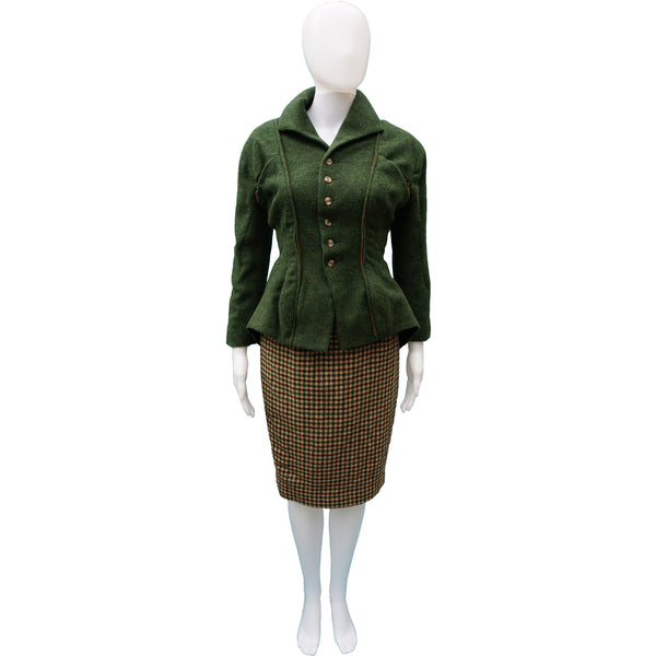 NL GREEN TWEED WOOL 3 PIECE SUIT