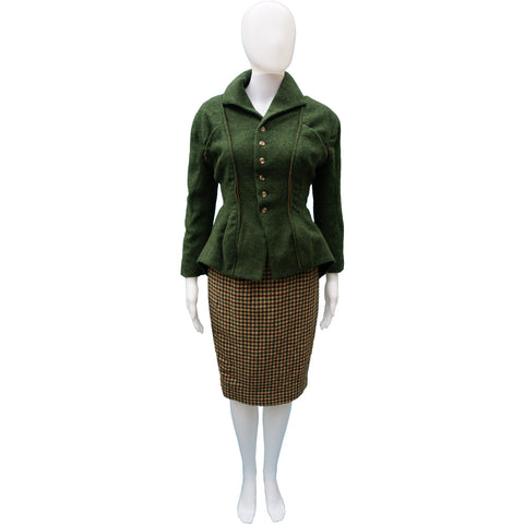 NL GREEN TWEED WOOL 3 PIECE SUIT - leefluxury.com