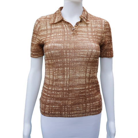 PRADA PATTERNED KNIT SHORT SLEEVE TOP on Leef luxury authentic designer resale consignment