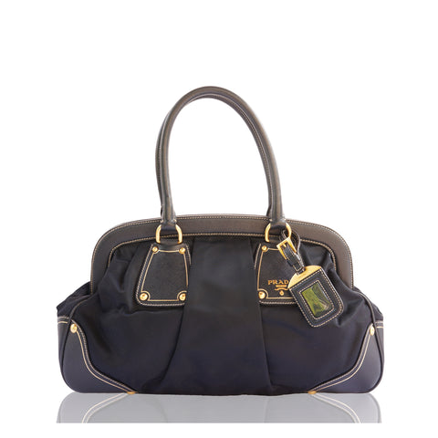 PRADA TESSUTO NAVY FRAME DOME BAG on Leef luxury authentic designer resale consignment