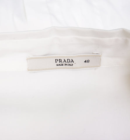 PRADA SHORT PLEATED SLEEVE WITH TIE BUTTON-UP TOP - leefluxury.com