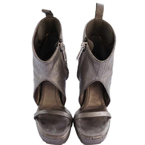 RICK OWEN SILVER METALLIC LEATHER PLATFORM WEDGE on Leef luxury authentic designer resale consignment