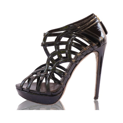 ROBERTO CAVALLI BLACK LEATHER CAGE SANDALS