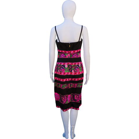 ROBERTO CAVALLI SILK FLORAL STRIPE DRESS on Leef luxury authentic designer resale consignment