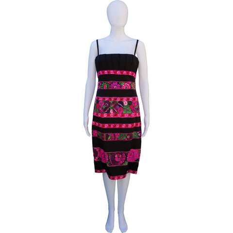 ROBERTO CAVALLI SILK FLORAL STRIPE DRESS - leefluxury.com