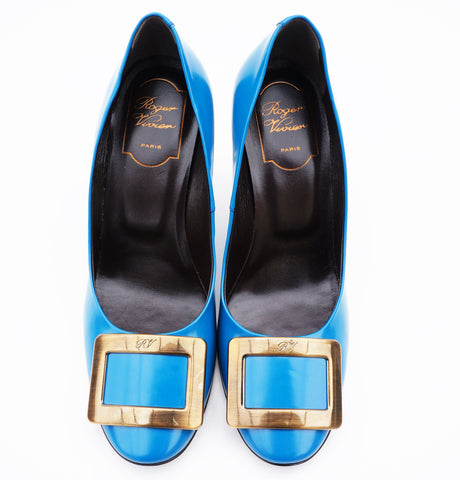 ROGER VIVIER BLUE PATENT LEATHER BUCKLE PUMPS hop the best value on authentic designer resale consignment on Leef Luxury