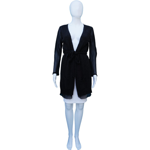 DRIES VAN NOTEN WOOL & SILK SHEER UNDERLAY CARDIGAN - leefluxury.com
