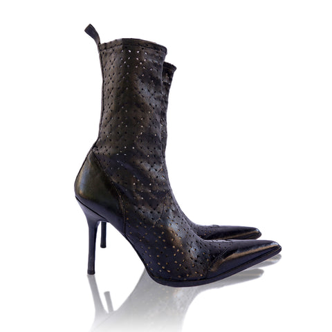 PLEIN SUD LASER CUT ANKLE BOOTS on Leef luxury authentic designer resale consignment