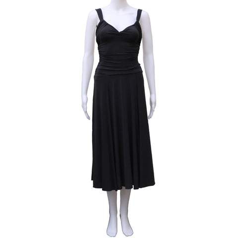 BCBG MAXAZRIA SLATE BLUE RUCHED BODICE JERSEY DRESS - leefluxury.com