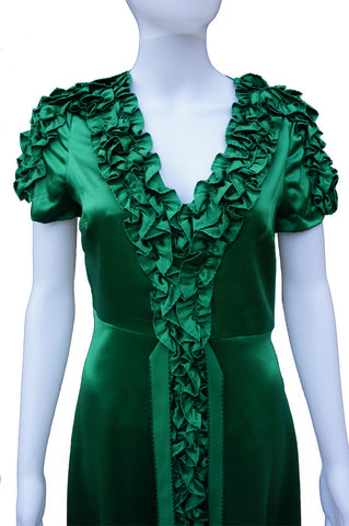 BETSEY JOHNSON SILK RUFFLE DRESS - leefluxury.com