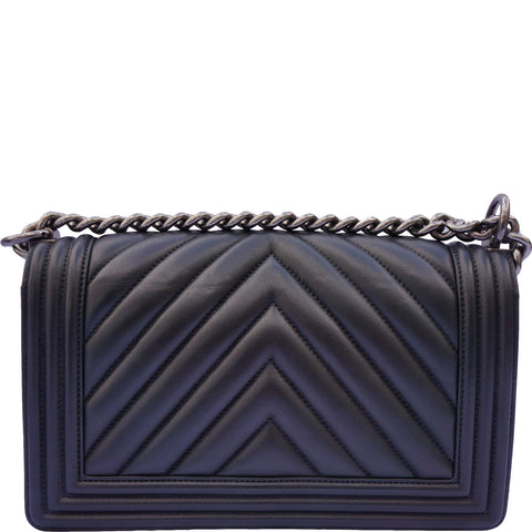 CHANEL OLD MEDIUM CHEVRON BOY BAG - leefluxury.com