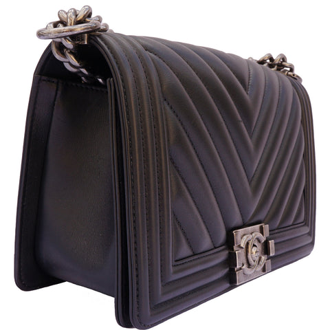 Chanel Old Medium Boy bag black chevron calfskin leather
