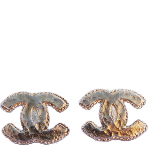 CHANEL CC GOLD TONE TEXTURED EARRINGS - leefluxury.com
