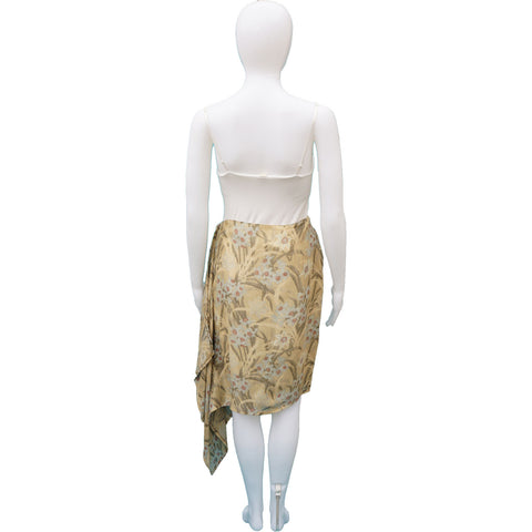 CHLOE FLORAL LINEN KNEE-LENGTH SKIRT