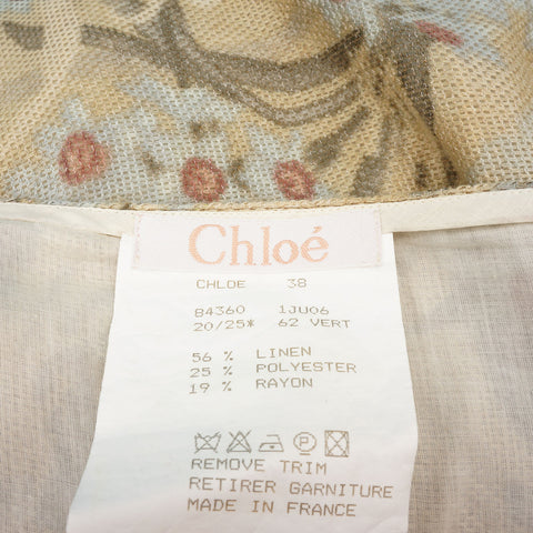 CHLOE FLORAL LINEN KNEE-LENGTH SKIRT on Leef Luxury authentic designer consignment