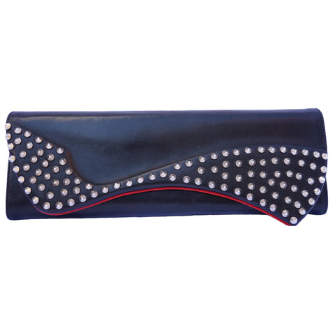CHRISTIAN LOUBOUTIN PIGALLE STUDDED BLACK CLUTCH - leefluxury.com