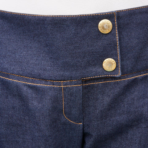 DOLCE & GABBANA DARK WASH DENIM WITH GOLD PLACARD on Leef luxury authentic designer resale consignment