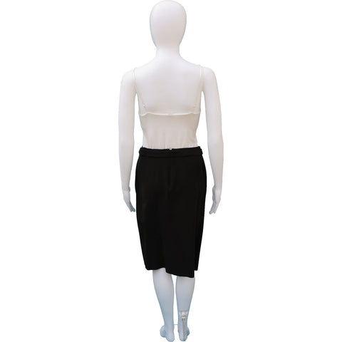 GUCCI SILK PANEL SKIRT WITH FABRIC AND LEATHER BELT - leefluxury.com