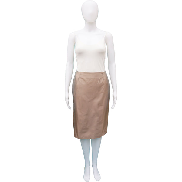 GUCCI CHAMPAGNE IRIDESCENT KNEE-LENGTH PENCIL SKIRT