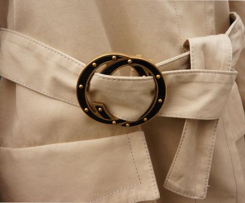 GUCCI TRENCH COAT WITH STUDDED GG LOGO BELT ON LEEF LUXURY DESIGNER CONSIGNMENT