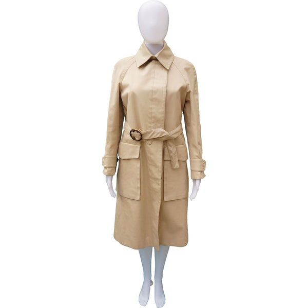 GUCCI TRENCH COAT WITH STUDDED GG LOGO BELT