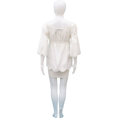 INC WHITE PEASANT TOP - leefluxury.com
