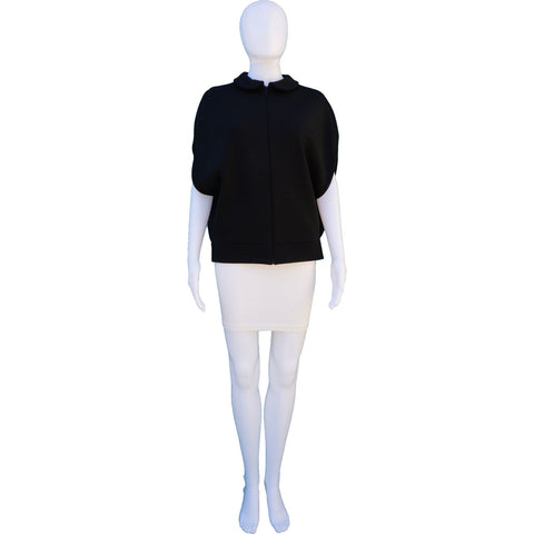JILL SANDER ROUND COLLAR WOOL CAPE ON LEEF LUXURY AUTHENTIC DESIGNER  RESALE